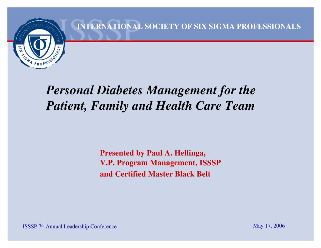 Personal Diabetes Management For The Patient Family And Healthcare