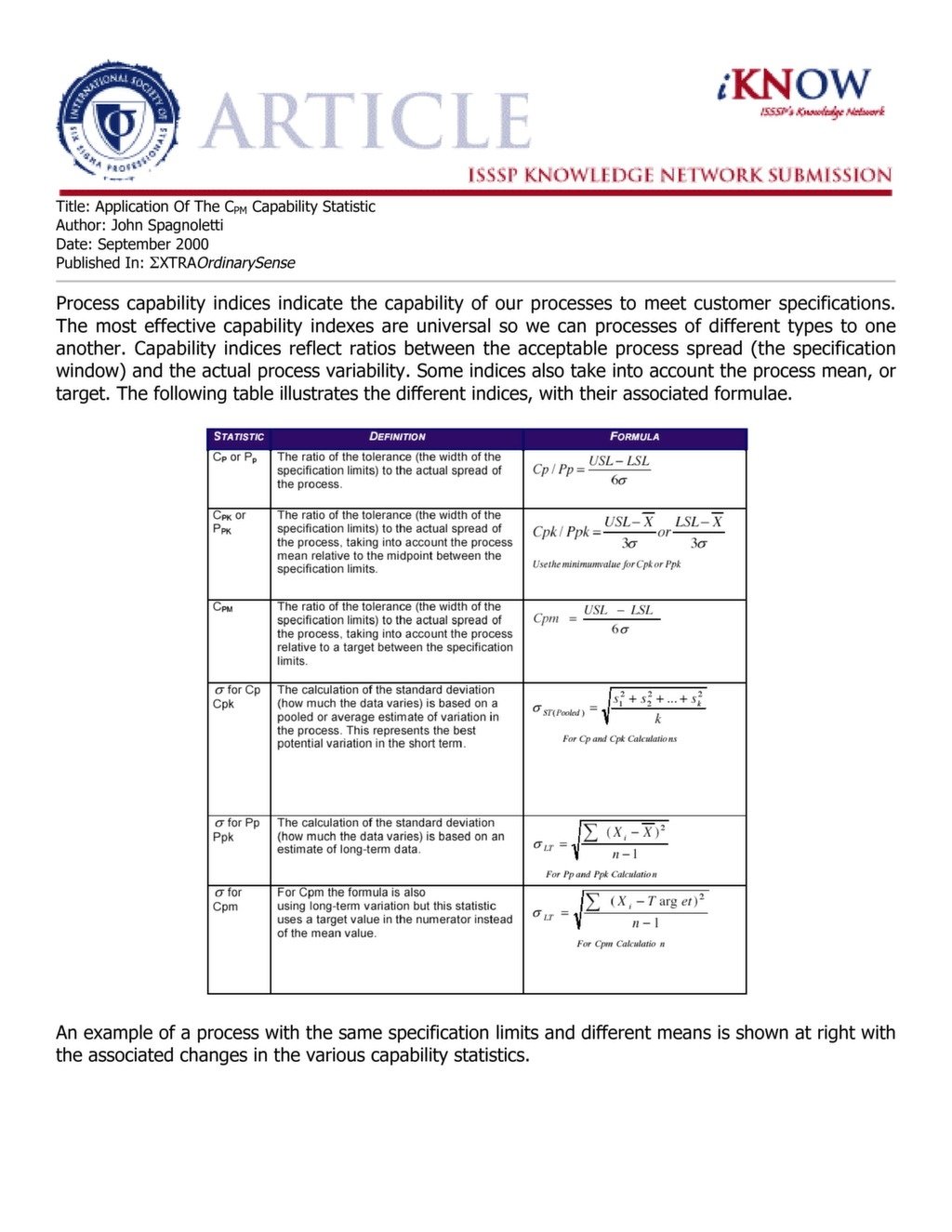 Application of the Cpm Statistic — ISSSP for Lean Six Sigma