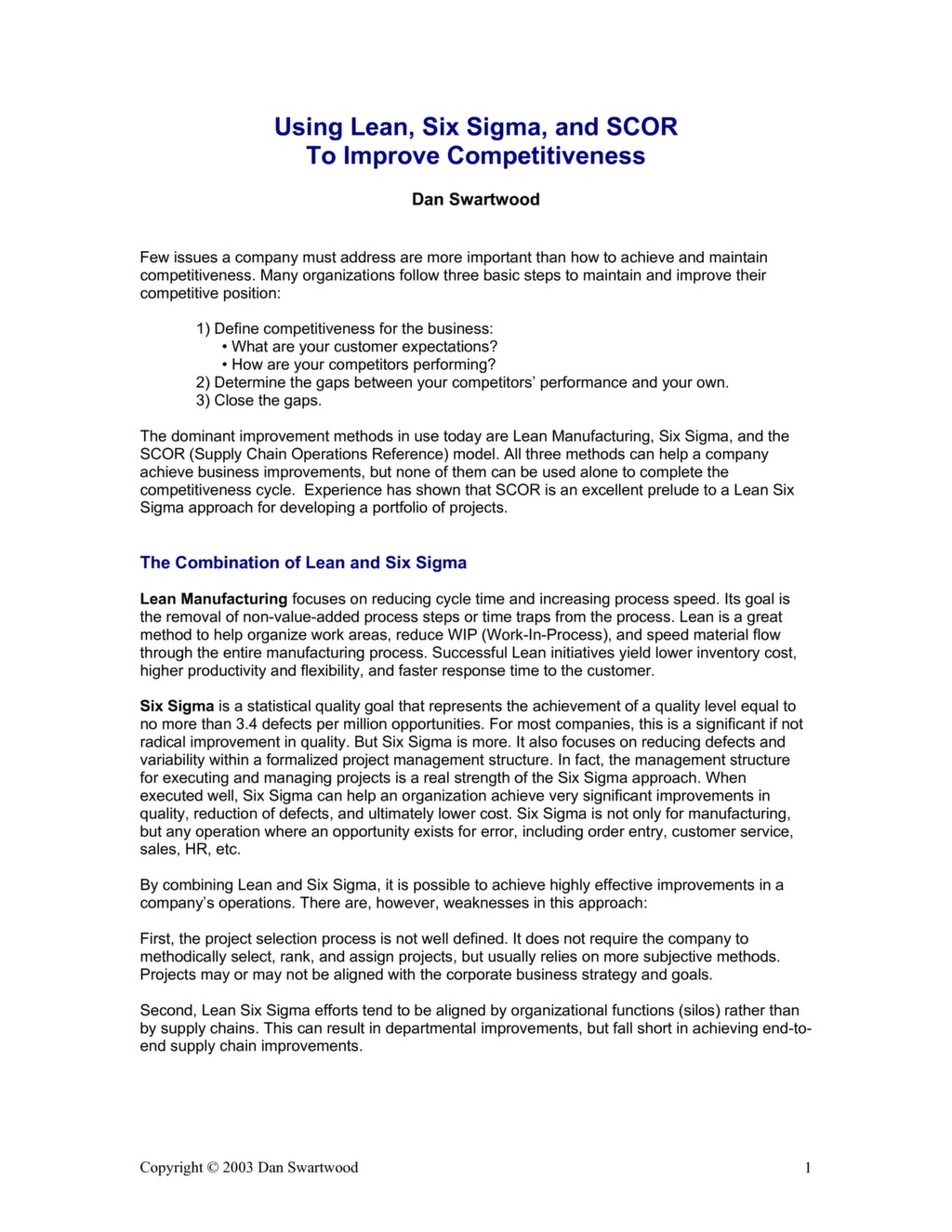 Using Lean, Six Sigma, and SCOR to Improve Competitiveness