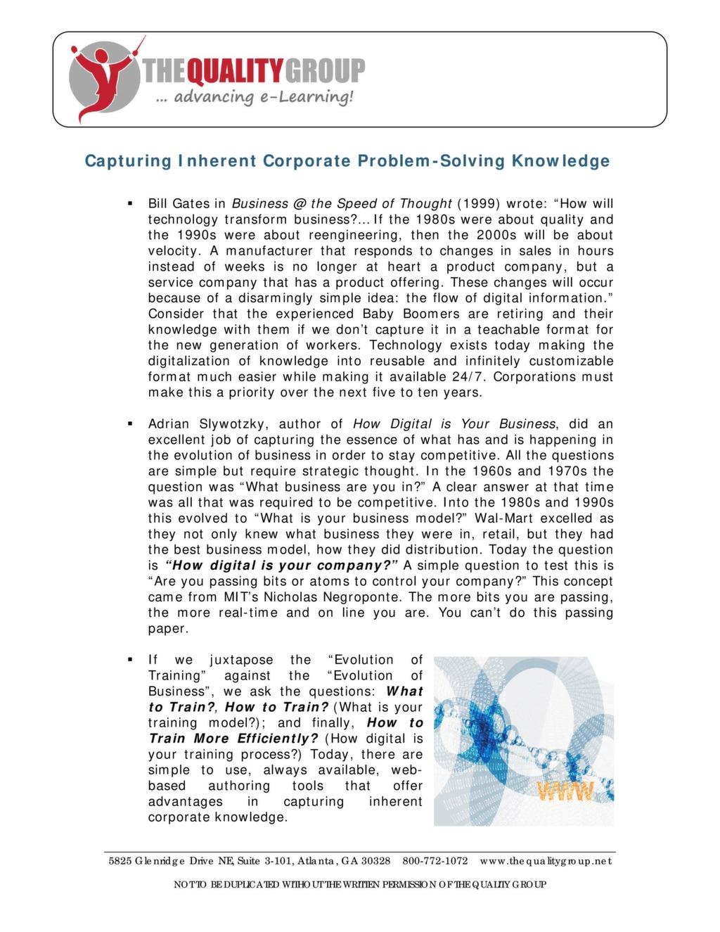 Capturing Inherent Corporate Problem-Solving Knowledge