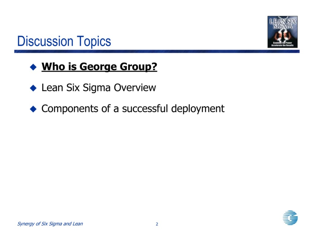 Lean Six Sigma for Service Environments. 1 / 4
