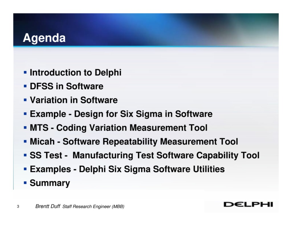 Design For Six Sigma In Software At Delphi Isssp For Lean Six Sigma
