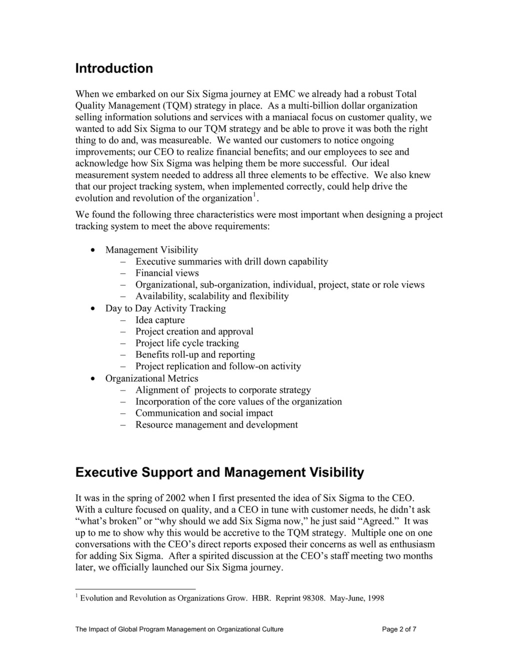 The Impact of Global Program Management on Organizational Culture